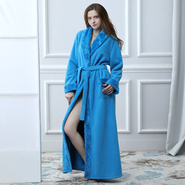 long thick robes Canada - Winter Women Bathrobe Hooded Men Autumn Thick Warm Towel Fleece Sleepwear Long Robe Hotel Spa soft Long Nightgown Kimono robe