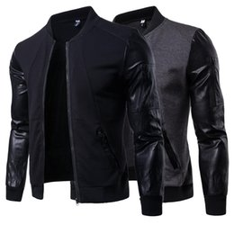 China Jacket Men PU Sleeve Baseball Jackets Leather Coats Slim Fit College Luxury Stand Collar Leather Jackets Casaco Masculino J180759 supplier luxury leather jacket men suppliers