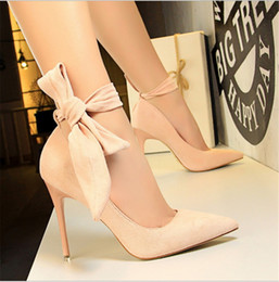 American Leather Shoes Australia - European and American style super high heel stiletto simple suede shallow mouth pointed word with butterfly wedding shoes high heels