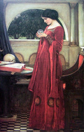 $enCountryForm.capitalKeyWord Australia - Lady In Red With Crystal Ball Art,Quality Handpainted  DH Print Famous Portraits Art Oil Painting On canvas,Multi sizes Frame Options P171
