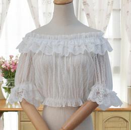 wild woman costume 2018 - Sexy Sweet Lolita White Black One word collar Lace Woman Transparent Tube top Shirt Ruffle Blouse Wild Summer Short slee
