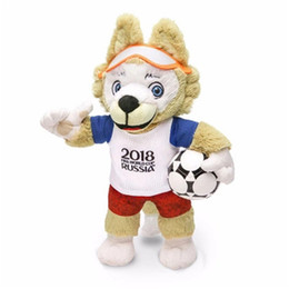 Discount puppets - Hot Russia World Cup Mascot plush toy Styles Cute Cartoon doll Biological Animal Plush Toys Child Baby Favor Little Wolf