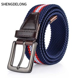 boys korean jeans fashion 2019 - Men's belt canvas knitted waistband, alloy pin, elastic elastic, Korean fashion, boys and girls, young Jeans Belt cheap