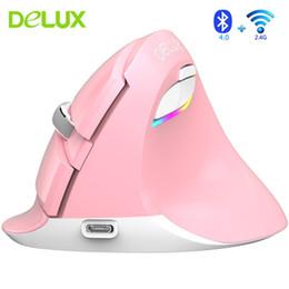 Delux M618Mini Dikey Fare Bluetooth 4.0 + 2.4G Kablosuz 4 Dişli DPI RGB Ergonomik Şarj Edilebilir Fareler PC Dizüstü Akıllı Telefon için