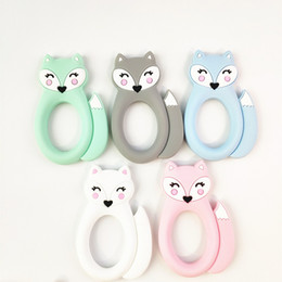 $enCountryForm.capitalKeyWord Australia - Large Silicone Fox Teether Teething Baby Toys BPA Free Safe Soft Silicone Animal Chew Beads Soothers Nursing Baby Teething Toys