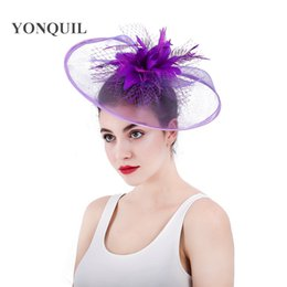 3ad523bfeb84e Top quality purple fascinators hat with feather flowers wedding veilling hair  accessories for church Kentucky derby ascot races SYF309