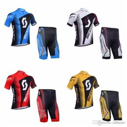 Scott Bikes Canada - SCOTT team Cycling Short Sleeves jersey (bib) shorts sets Breathable Anti-UV Bicycle 100% Polyester Bike Sports wear F0111