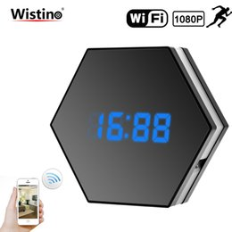ir cctv lighting NZ - WIFI Mini Camera 1080P Time Alarm CCTV Home Security Clock Wireless Nanny IP Camera P2P IR light Night Vision Motion Detection