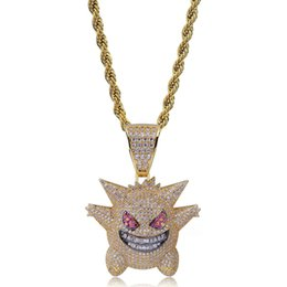 Wholesale Full Rhinestone Gengar Pendant Necklace Creative Hip Hop Bling Bling Ice Out Jewelry With Free Inch Chain For Men Gift