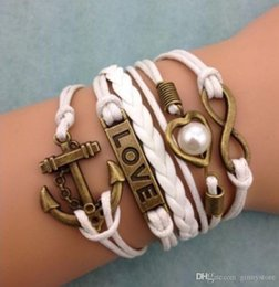 Cross Infinity Anchor Charm Bracelet Australia - DIY Infinity Charm Bracelets Antique Cross Bracelets Hot sale fashion Rope Leather Bracelets Multilayer Heart Anchor Love Pearl Jewelry