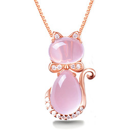 Pendant Pink oPal online shopping - Rose Gold Color Cute Cat Ross Quartz Pink Opal S925 Jewelry Necklace for Women Girls Children Gift Choker