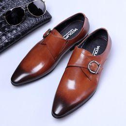 $enCountryForm.capitalKeyWord Canada - Designer 2018 European Handmade Genuine Leather Men Brown Monk Strap Formal Shoes Office Business Wedding Suit Dress Loafers