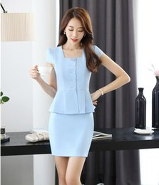 two piece office suit 2019 - Wholesale-Summer Formal Two Piece Sets Women Business Suits with Skirt and Jacket Top Sets Ladies Work Wear Suits Office