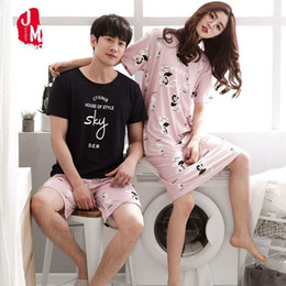 79d9366cf2 Summer Women Pajamas Set Short Sleeve Cotton Couples Two Pieces Set Pajamas  Homewear Casual Letter Man Pyjamas Sleepwear Suit