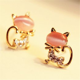 studs for ear piercing Australia - New Fashion Crystal Eyes Cat Earring Cute Fine Black Kitten Animal Jewelry Piercing Ear Stud Earrings For Women Girl