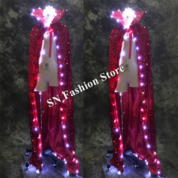 glow party clothes 2019 - LZ02 LED light ballroom dance dresses led cloak led costume Glowing bar stage model wears cosplay clothes dj party mens