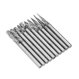 China 10Pcs 3x3mm Tungsten Carbide Burr Rotary Drill Bits Double Files Cutter Set suppliers