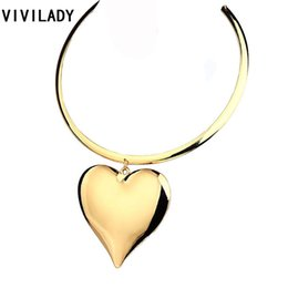 Discount choker heart - VIVILADY Fashion Larger Heart Pendants Chokers Necklaces Women Gold Color Zinc Alloy Collar African Hot Jewelry Accessor