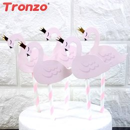Birthday Decoration Sets NZ - Tronzo Flamingo Cake Topper Flamingo Decoration 10pcs set Cartoon Pink Cupcake Toppers Birthday Party Decorations Kids