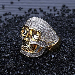 skull plates NZ - Mens 18k Yellow Gold Plated Custom Skull Gold Pave CZ Bling Bling Ring Full Simulated Diamonds Micro Pave Set Stones Hip Hop Rings