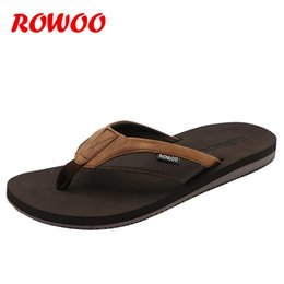 Brown Summer Sandals Canada - Leather Slippers Men'S Beach Flip Flops Breathable Fashion Flip-Flops For Men Summer Shoes Causal Sandals Indoor Male Slippers