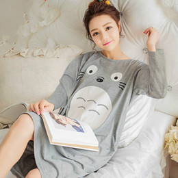 eb3837dbec Sweet Autumn Women Cartoon O-neck Nightwear Gray Pink Sleepwear Home Cute  Soft Nightdress Plus Size Loose Cotton Long Nightgown