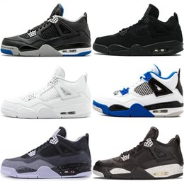 Discount genuine white gold - High Quality 4 White Cement Pure Money 4S Basketball Shoes For Men Bred Royalty Game Royal Sports Sneakers US8-13 For Sa