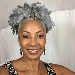 Curly Human Hair For Weaves Canada - 100% Real hair grey hair weave ponytail afro kinky curly clip in gray human drawstring pony tail hair extension for black women 100g 120g