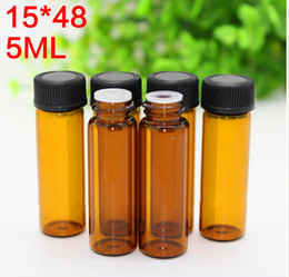 caps best price 2019 - Best Price 1000pcs 5ml Glass Amber Bottles For Essential Oil Empty Cosmetics Bottle With Screw Cap & Hole Tip For Sale d