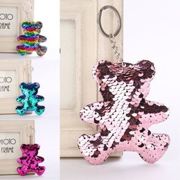 cute cartoon charms Australia - Cartoon Cute Sequins Bear Rainbow Pendants Keychain Top Keyring Charms Car Key Chain Support FBA Drop Shipping H582Q