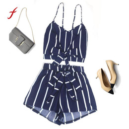 Chinese  Feitong Casual 2 Two Piece Set Sexy Women Striped Sleeveless Bandage Vest Blouse + Shorts Two-Piece Outfit manufacturers