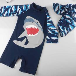 Swimwear Infant Australia - 2018 Children Swimsuit Baby Boy Swimwear Animal Sharks Swimsuit Infant Baby Bathing Suit Swimming Pool Protection Suit 2pcs