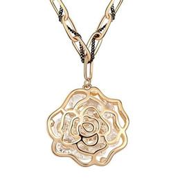 $enCountryForm.capitalKeyWord UK - Retro Vintage Fashion Rose Flower Long Sweater Chain Necklace For Women Austrian Crystal Pendants Necklaces Dubai Jewelry 6659