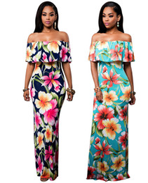print chiffon floor length dress UK - Cheap Summer Maxi Floral Printed Dress Off the Shoulder Beach Dresses Sheath Bodycon Pluse Size Women Long Casual Dresses