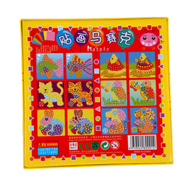 wholesale stickers animals UK - Kids EVA Mosaic Stickers 3D Art Crafts Puzzle Animals Transport Children's DIY Educational Toy Random Color
