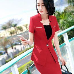 e061f285d7f3 New Professional set Women Short sleeve Suit skirt Formal Slim Work wear OL  ladies Office Plus Size S-4XL Blazer with skirt 2 Piece DK832F