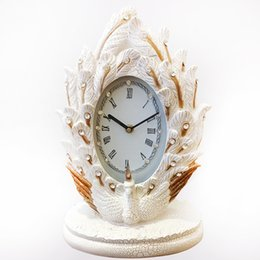 carving resin Australia - TUDA Free Shipping 10inch Elegant Peacock Carved Resin Table Clock Classical Style Table Clock Exquisited Home Decor