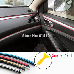 5Meters Car Interior trim sticker strip decal stripes cars moulding trim Decoration Line Decals Trim auto Door Dashboard Air Outlet stickre on Sale