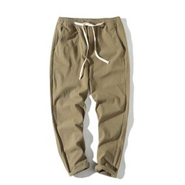 thin cotton trousers 2019 - WEBONTINAL 2018 Brand Summer Autumn Cotton Linen Casual Harem Pants Men Fashion Thin Slim Fit Pencil Male Trousers Cloth