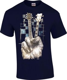 China TALL Don't Fret Guitar Bass Guitarist Musician Finger Peace Sign Rock T-Shirt suppliers