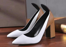 stiletto party office shoes Australia - Chunky Heels Women Office Dress Pumps Thick Heeled Spring Autumn Fashion Ladies Slip On Heels Shoes Pointed Toe Wedding Party Shoes Mujers