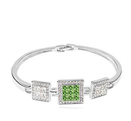 $enCountryForm.capitalKeyWord NZ - Tendy square crystal open bangle with Crystals from Swarovski fashion jewelry for women girls mother lover gift 2018