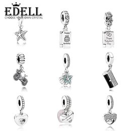 Discount bicycle cake - EDELL 100%925 Sterling Silver Heart Love Pendant Necklaces for Women With Jewelry Gift For Lover Bicycle DIY Cake patter