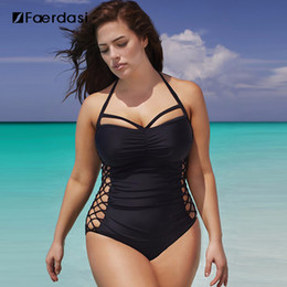 5xl swimwear online shopping - Faerdasi One Piece SwimSuit Plus Size Swimwear Bathing Suit Swimsuit Monokini Women Push Up Black Color One Piece