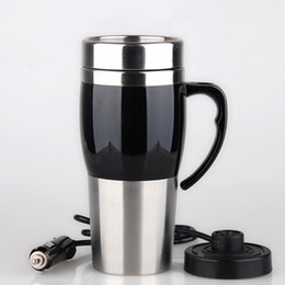 Steel centre online shopping - Creative Vacuum Heating Cup Vehicle Electric Kettle Thermal Heater Cups Stainless Steel Double Deck Water Bottles With Multi Color yz jj