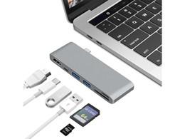 Thunderbolt 3 USB-C Hub Adaptador para Macbook Pro Nintendo Switch Samsung S8, puerto de cargador tipo C + puerto HDMI + 2 * puerto USB 3.0 + lector de tarjetas SD en venta