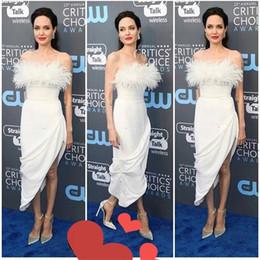 Discount feather party short dresses - Sexy White Feather Short Evening Dresses 2020 Plus Size Tea Length Yousef Aljasmi Celebrity Formal Dresses Evening Wear