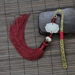 5 Colors Chinese Style Vintage Antique Metal Bookmark - Handmade Silky Tassels Beads Classical Book Mark School Office Supplies Gifts from newest design alloy manufacturers