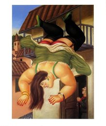 paint over canvas print 2019 - Over The Balcony by Fernando Botero High Quality Handpainted & HD Print Art oil painting,Home Decor Wall Art On Canvas M