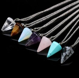 Triangle shape necklace online shopping - New Hexagonal Pendant Necklace Jewelry Natural Stone Triangle shaped Necklace Unisex Crystal Taper Pendant Bullet Necklace Colors